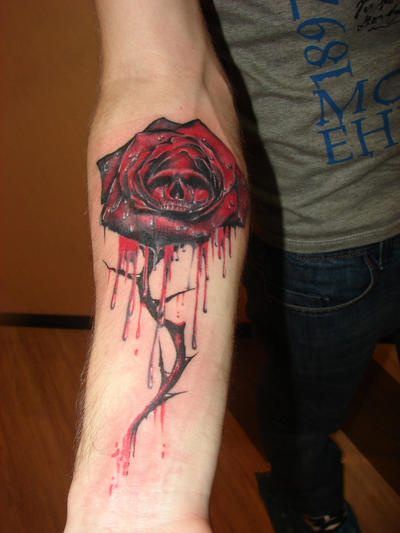 Gothic rose and skull by rublev tattoo on deviantart for Gothic neck tattoos