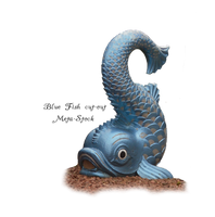 Blue Stone Fish Statue PNG by Meta-Stock