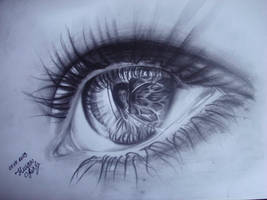 Realistic eye drawing with pencil