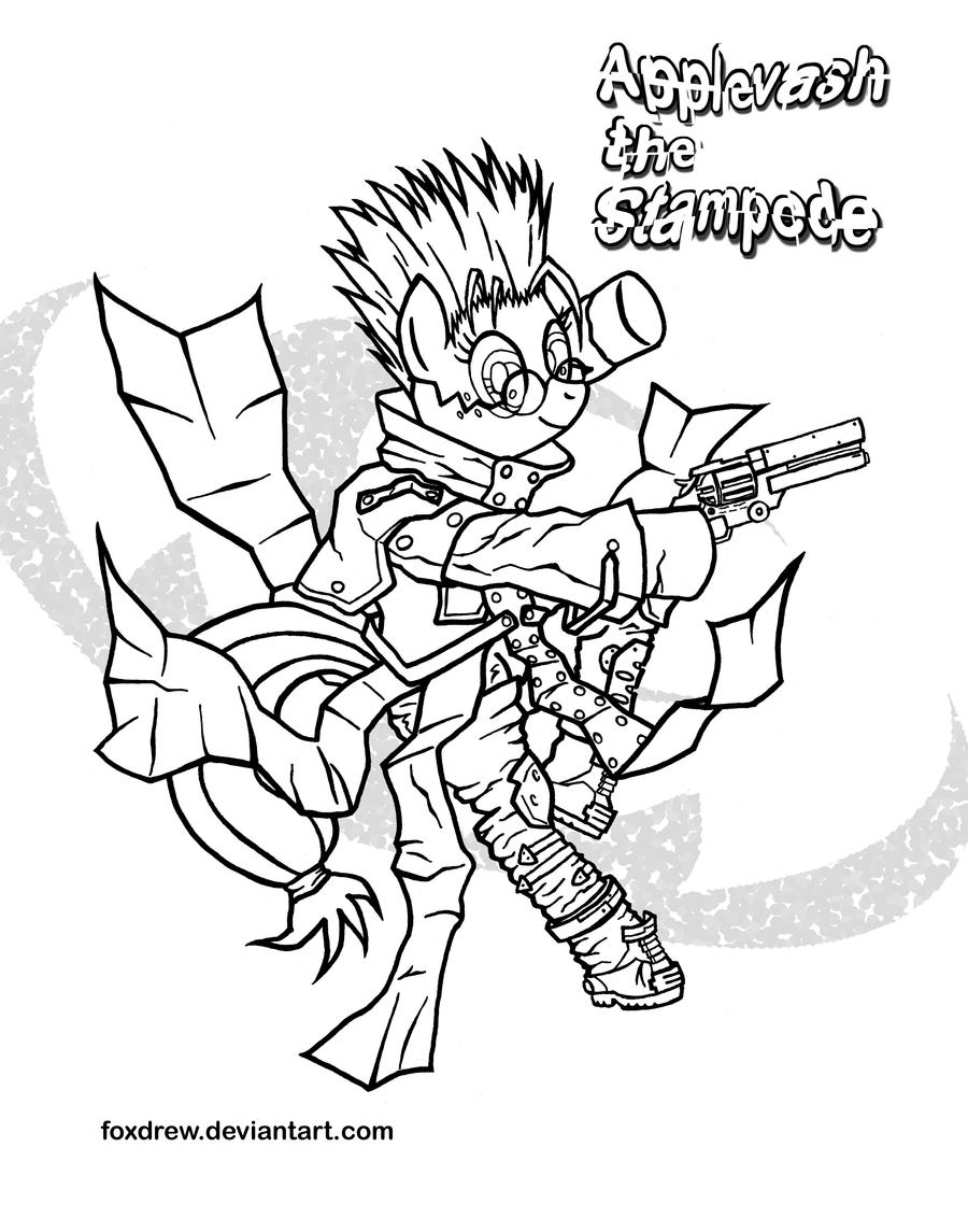 trigun coloring pages | Applevash the Stampede coloring page by Foxdrew on DeviantArt