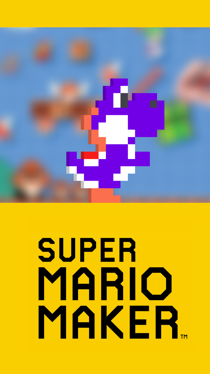 Purple Yoshi - Super Mario Maker Wallpaper (Phone) by TheWolfGalaxy
