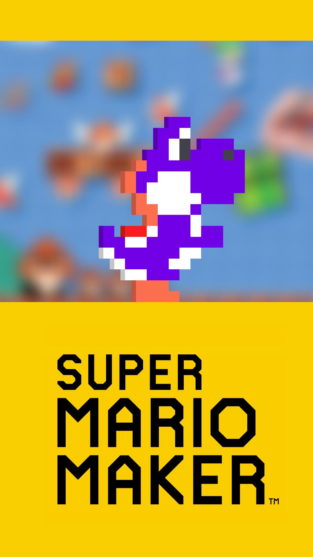 Purple Yoshi - Super Mario Maker Wallpaper (Phone) by TheWolfGalaxy