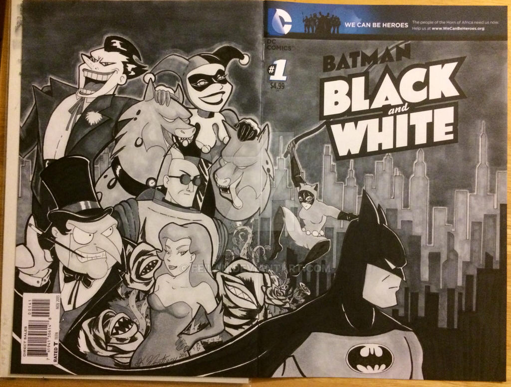 Batman black and white by Feilan