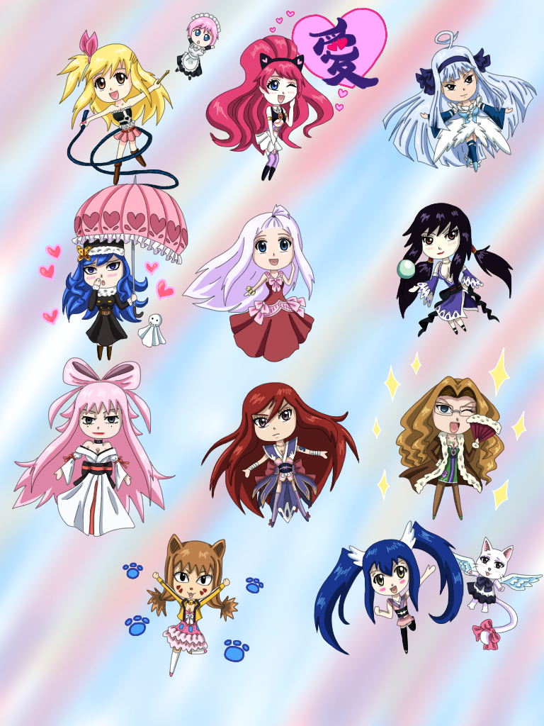 FairyTail Chibi Girls by WhiteMageOfTermina on DeviantArt