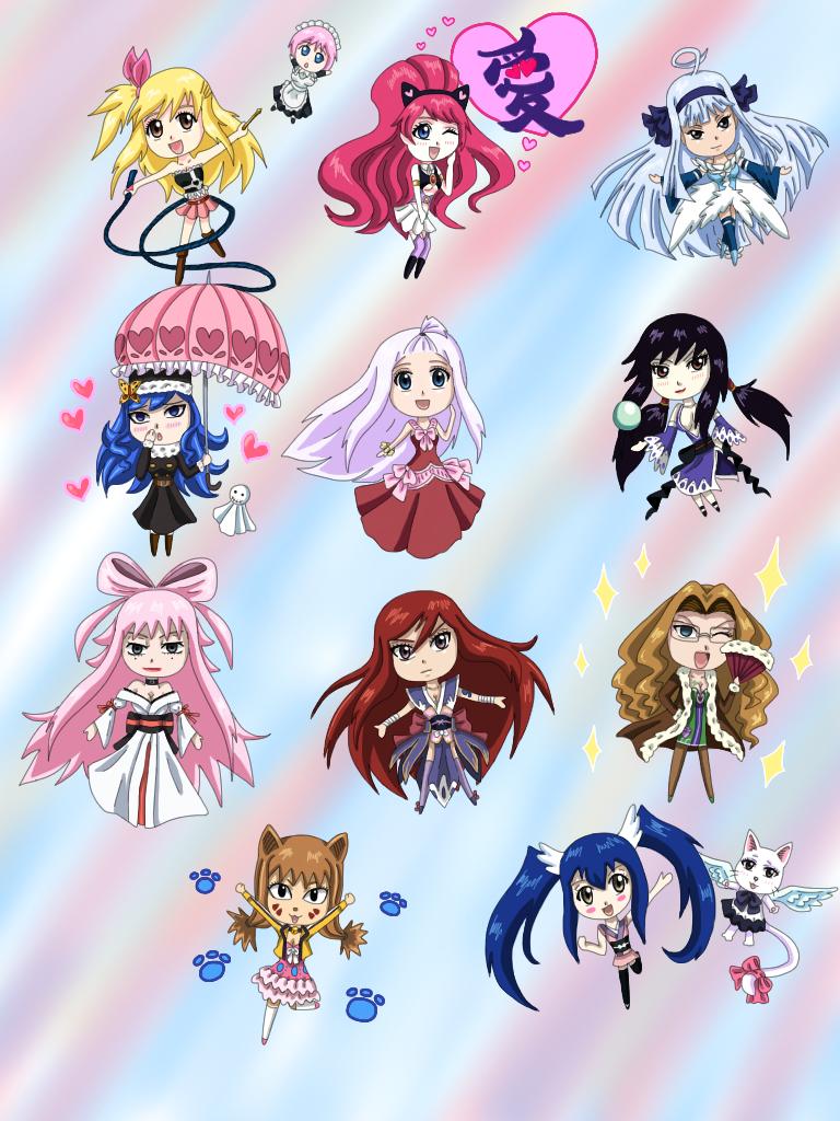 FairyTail Chibi Girls by WhiteMageOfTermina on DeviantArt