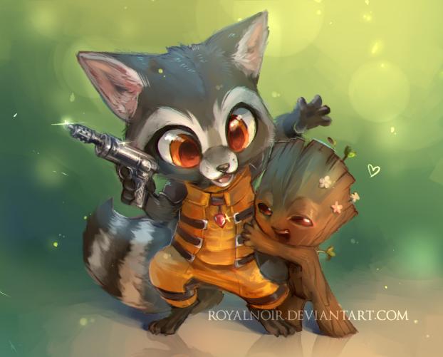 Rocket and Groot: Surprise hug by RoyalNoir