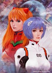 Rei and Asuka  Neon Genesis EVANGELION fun art by nabenosuke