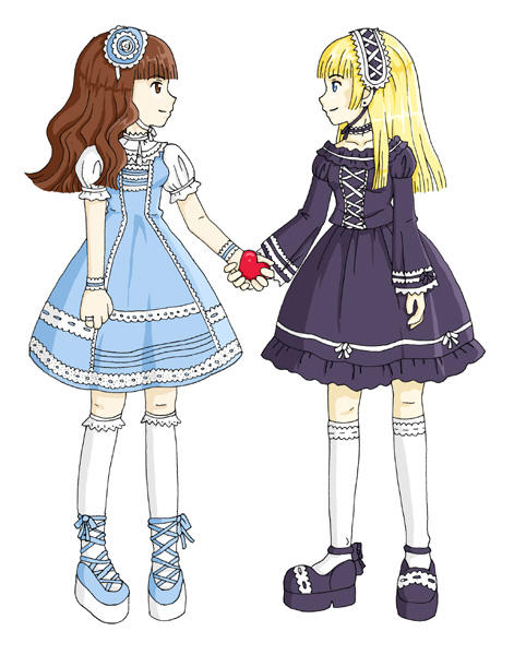 Sweet Lolita and Gothic Lolita by cajime