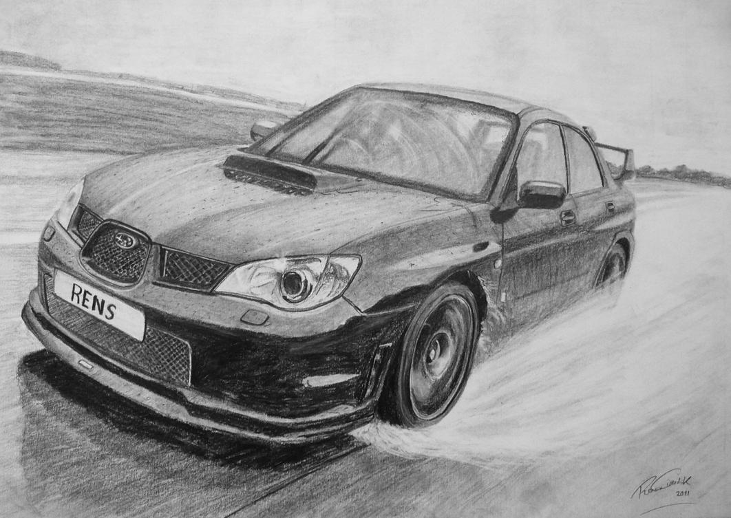 Subaru Impreza Pencil Drawing by GTracerRens