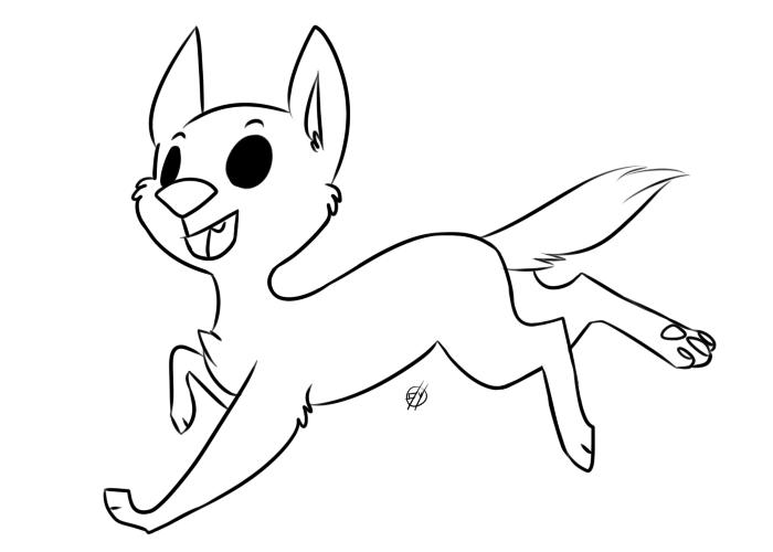 free running chibi dog lineart by purplepaopu on DeviantArt