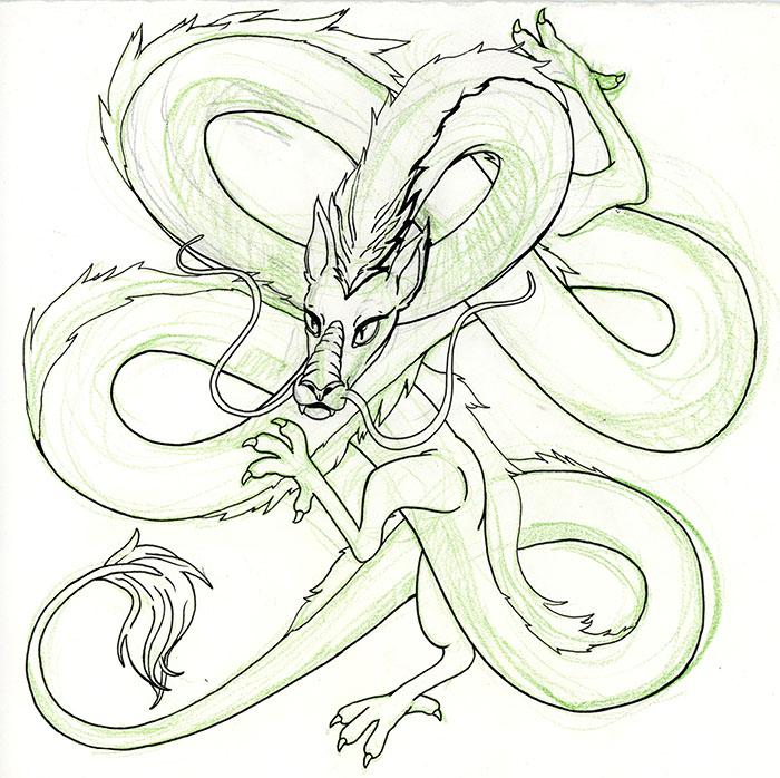 Haku dragon lineart sketch by punkerfairie