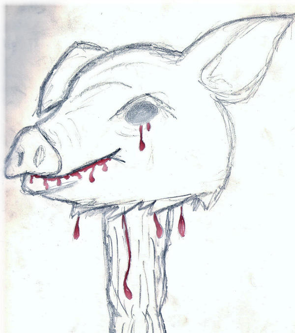 Cartoon pig head on a stick - photo#15