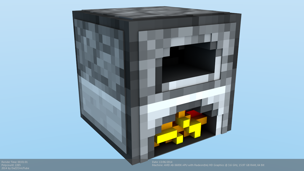 Minecraft furnace model by craftdanimation on deviantart for How to craft a furnace in minecraft