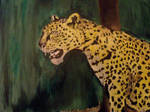 leopard in clearing oil painting