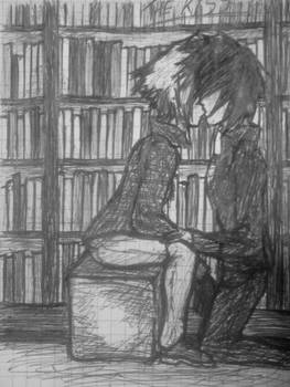 Kiss in the library (sketch)