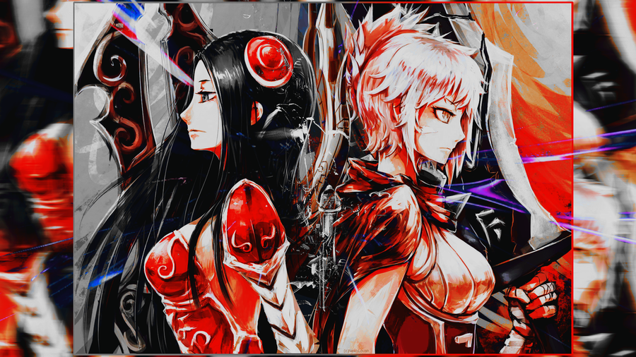 lol irelia and riven wallpaper resize by nekolovah on