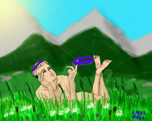 Chris on an Alpine meadow