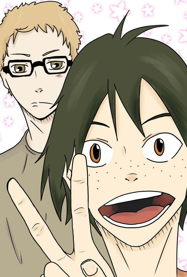 Haikyuu Selfie: Tsukki and Yamaguchi by JennieJutsu