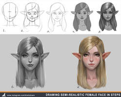 How to draw semi-realistic female face in steps