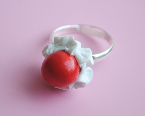 Cherry and Whipcream Ring by ClayRunway