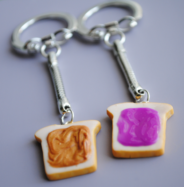 Peanut Butter and Jelly Keychains by ClayRunway