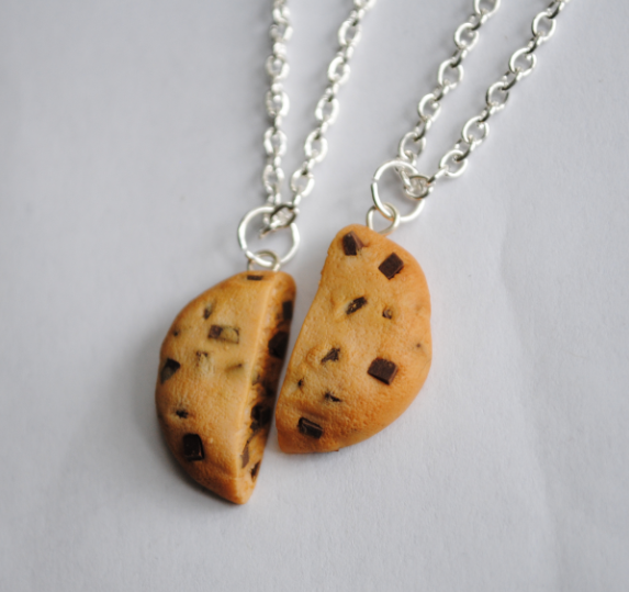 Chocolate Chip Cookie Friendship Necklaces by ClayRunway