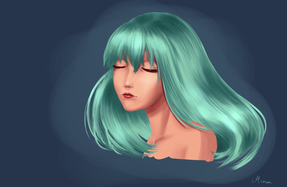 Green hair by RainbowDragonKasai