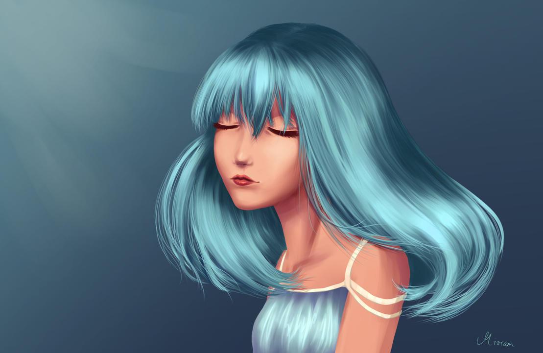 Blue hair by RainbowDragonKasai