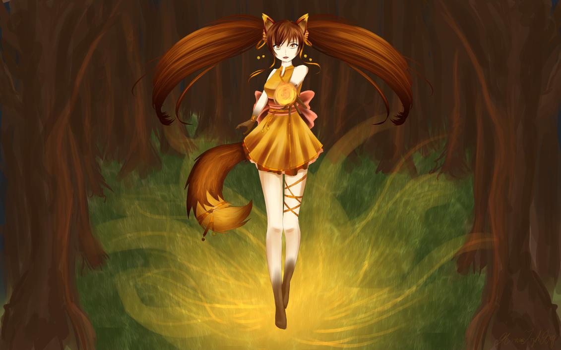 Fox in the woods by RainbowDragonKasai