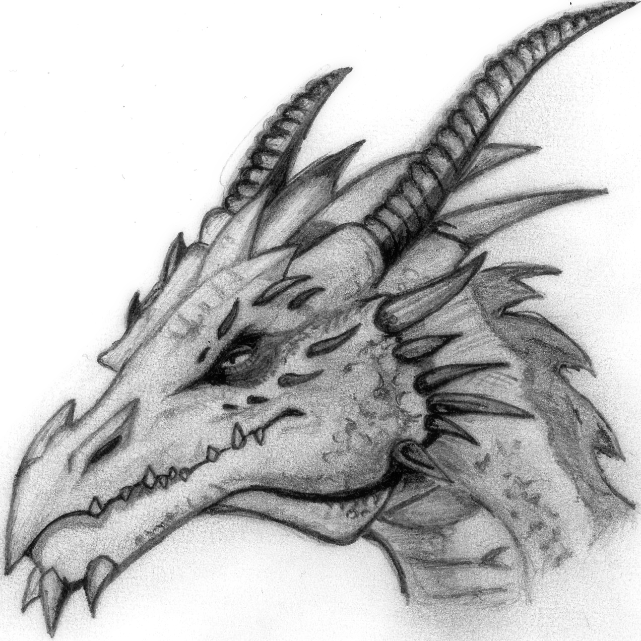 Dragon head by deathlouis on deviantart for Small art drawings