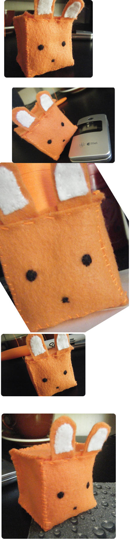Orange Bunneh Cubed Plushie by LadyLuck89