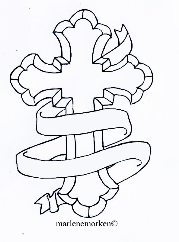 Cross Tattoo Line Drawing : Catholic cross tattoo design by marlenefm on deviantart