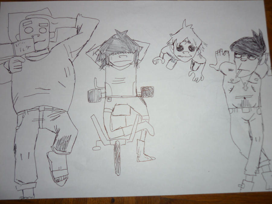 Russel, Noodle, 2D and Murdoc by Murdoc42