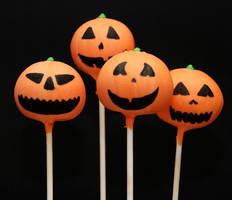 Jack o Lantern Cake Pops by keriwgd
