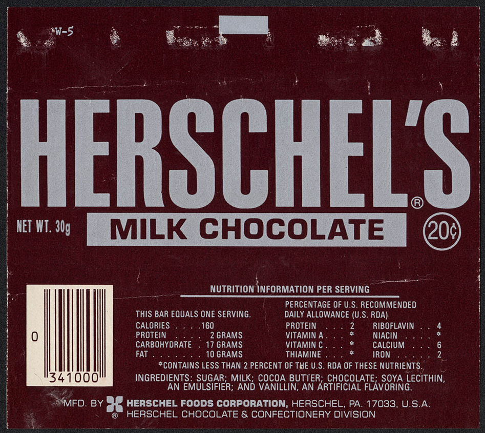 CC Herschels-chocolate-bar-wrapper-late-1970s by tygerbaer2013 on ...