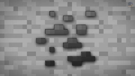 MineCraft Shaded Coal Ore Wallpaper