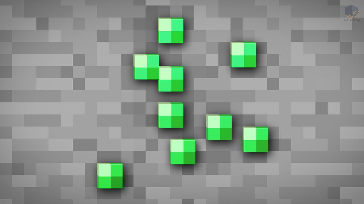 MineCraft Shaded Emerald Ore Wallpaper By ChrisL21