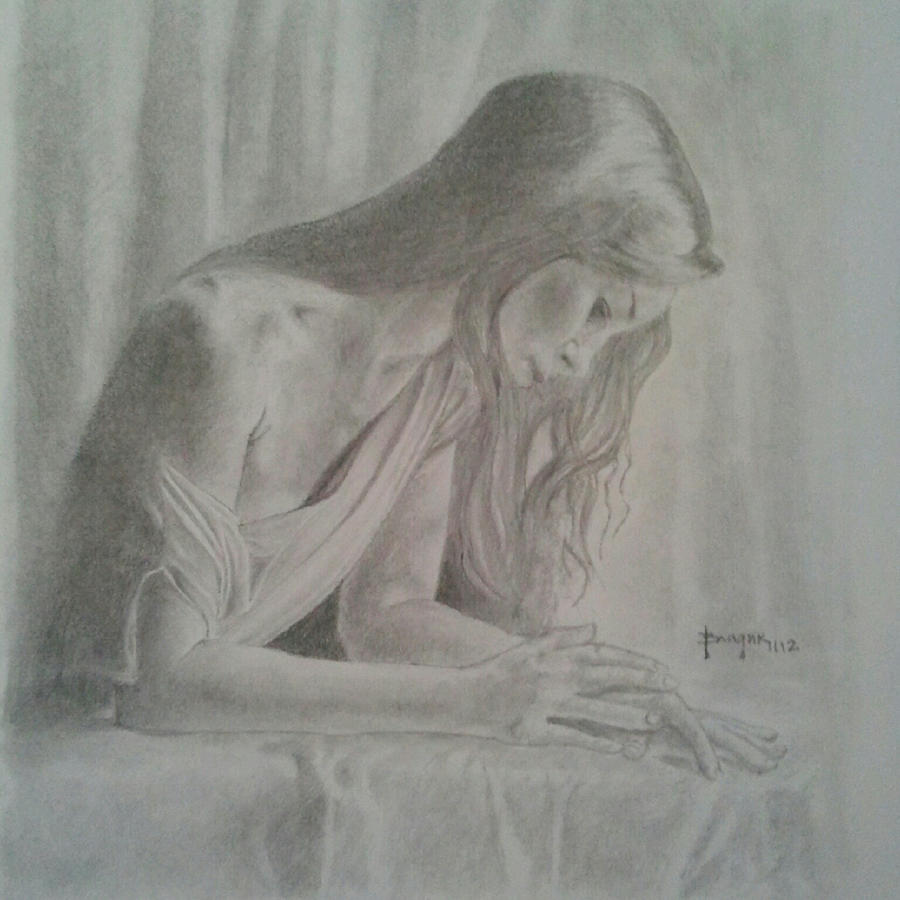 Sad Woman Art Portrait of a sad woman bySad Woman Painting