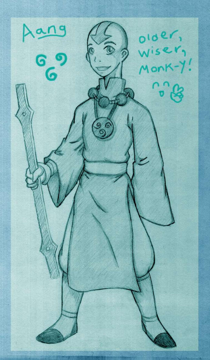 Older Aang in Pencil by tui-and-la