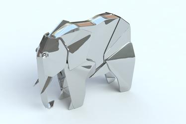 platinum origami-style elephant