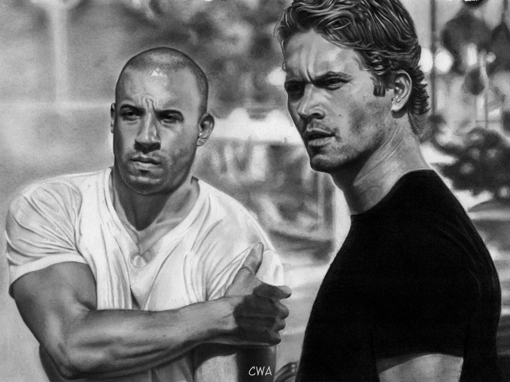 Paul Walker and Vin Diesel - Fast and Furious by ChrisWoottonArt
