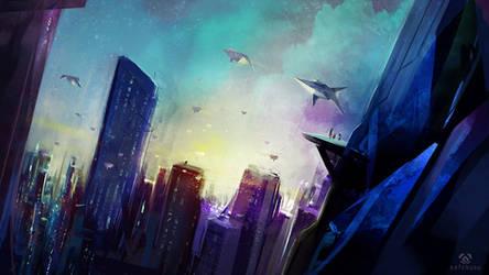 Random Sci-Fi Cityscape Speedpainting