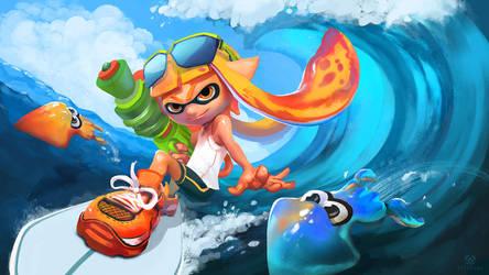 Inklings Can Surf Too - Splatoon Fanart