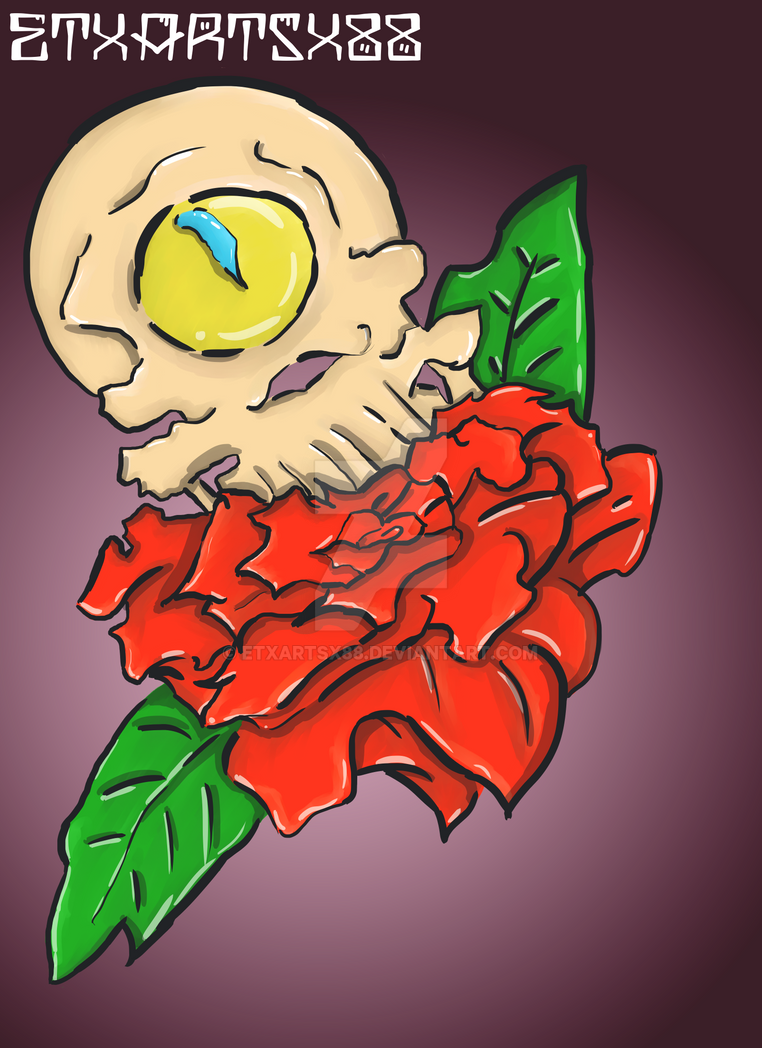 Cyclops skull and a rose by ETxARTSx88