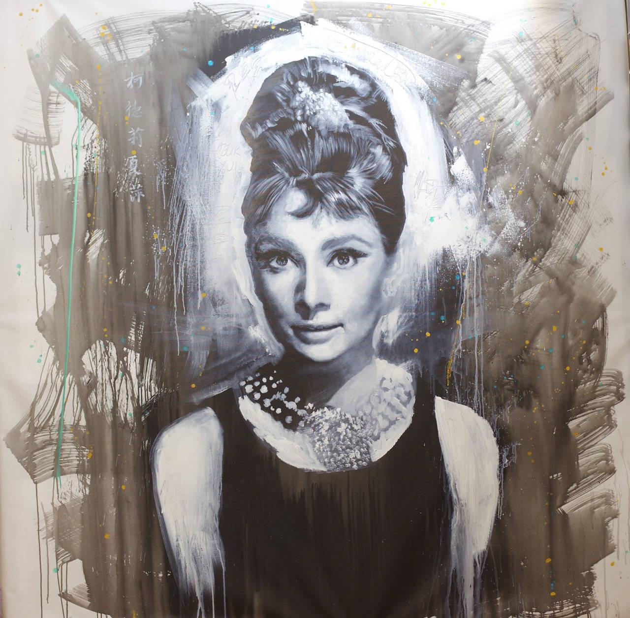 Audrey Hepburn Breakfast at tiffany painting by michaelandrewlaw