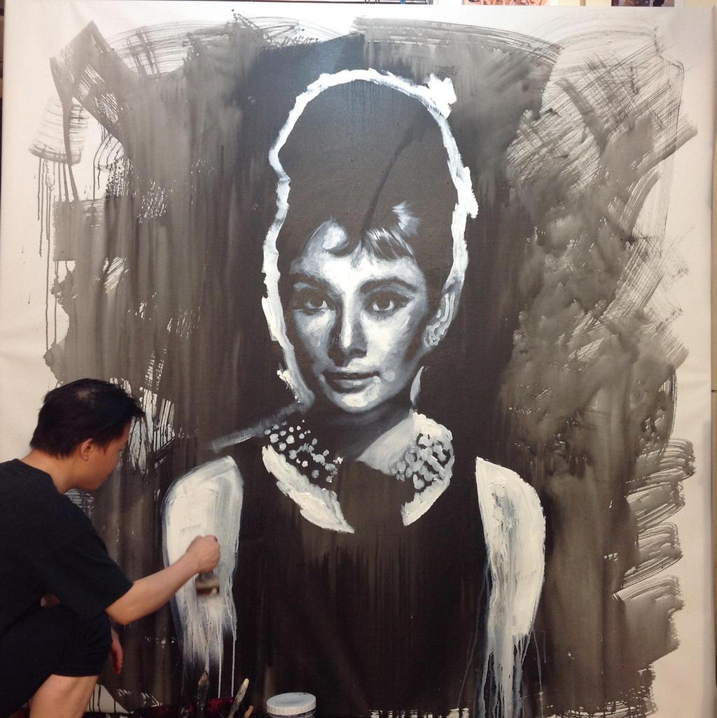 Audrey Hepburn Breakfast at tiffany painting WIP by michaelandrewlaw