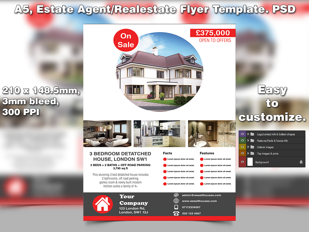Estate Agentopen House Flyer Template A5 Psd By Studio81gfx On