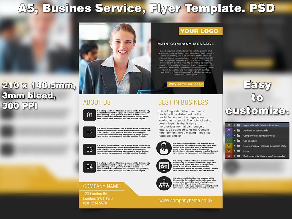 Business Service Flyer Template (A5 PSD) by Studio81GFX on DeviantArt