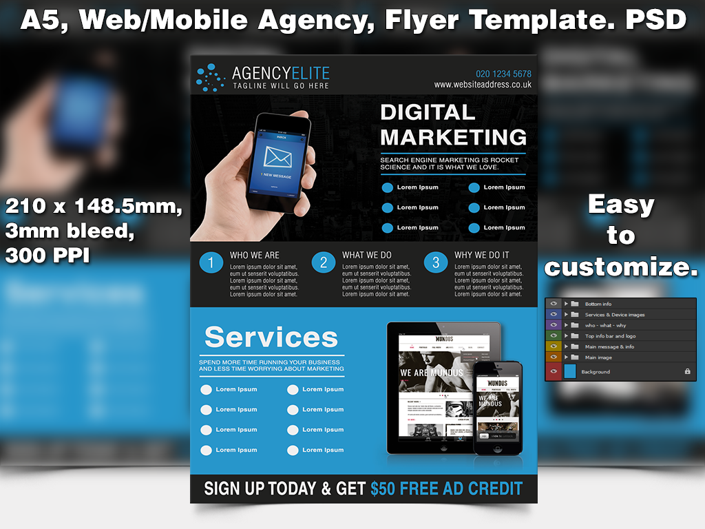 Web Mobile Agency Flyer Template (A5 PSD) By Studio81GFX ...