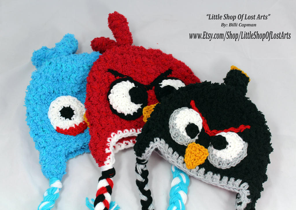Crochet Hat Pattern Angry Bird : Angry Birds inspired crochet hats in fleece by ...